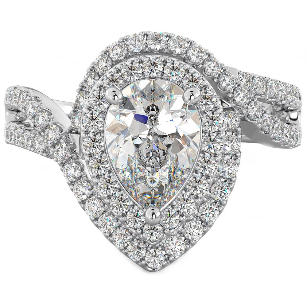 set pear ring white in diamond cts shaped i gold engagement rings