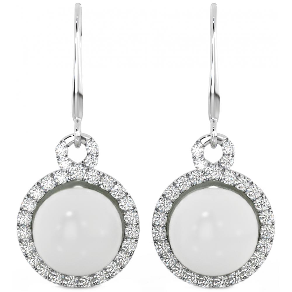 925 Sterling Silver White Freshwater Pearl Drop Earrings
