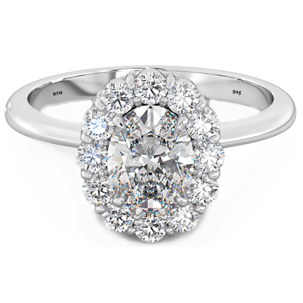oval,round brilliant cut cz vintage wedding engagement ring 925 silver