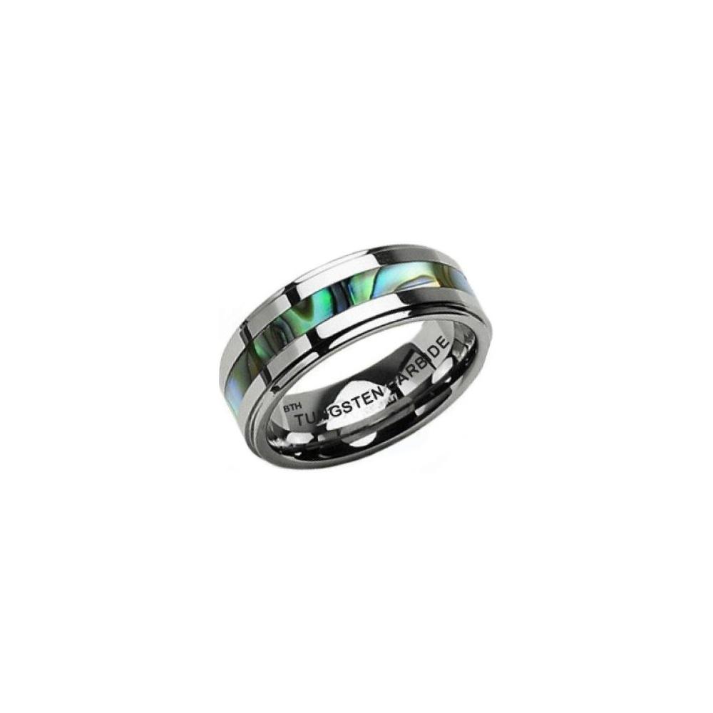 Abalone Shell Inlay Mens Tungsten Carbide Wedding