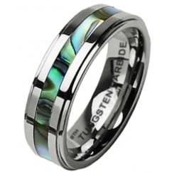 Abalone Shell Inlay Unisex Tungsten Wedding Band Ring -6mm