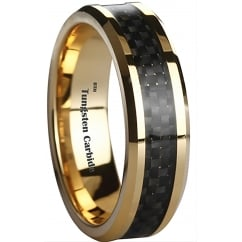 Amazing 6mm Black Carbon Inlay Gold Plated Tungsten Carbide Wedding Engagement Band Ring