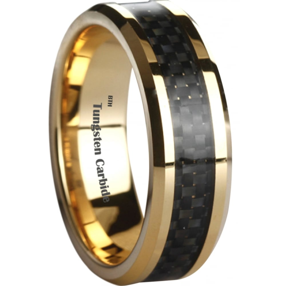 amazing black carbon inlay gold plated tungsten carbide wedding engagement band ring - Tungsten Carbide Wedding Rings