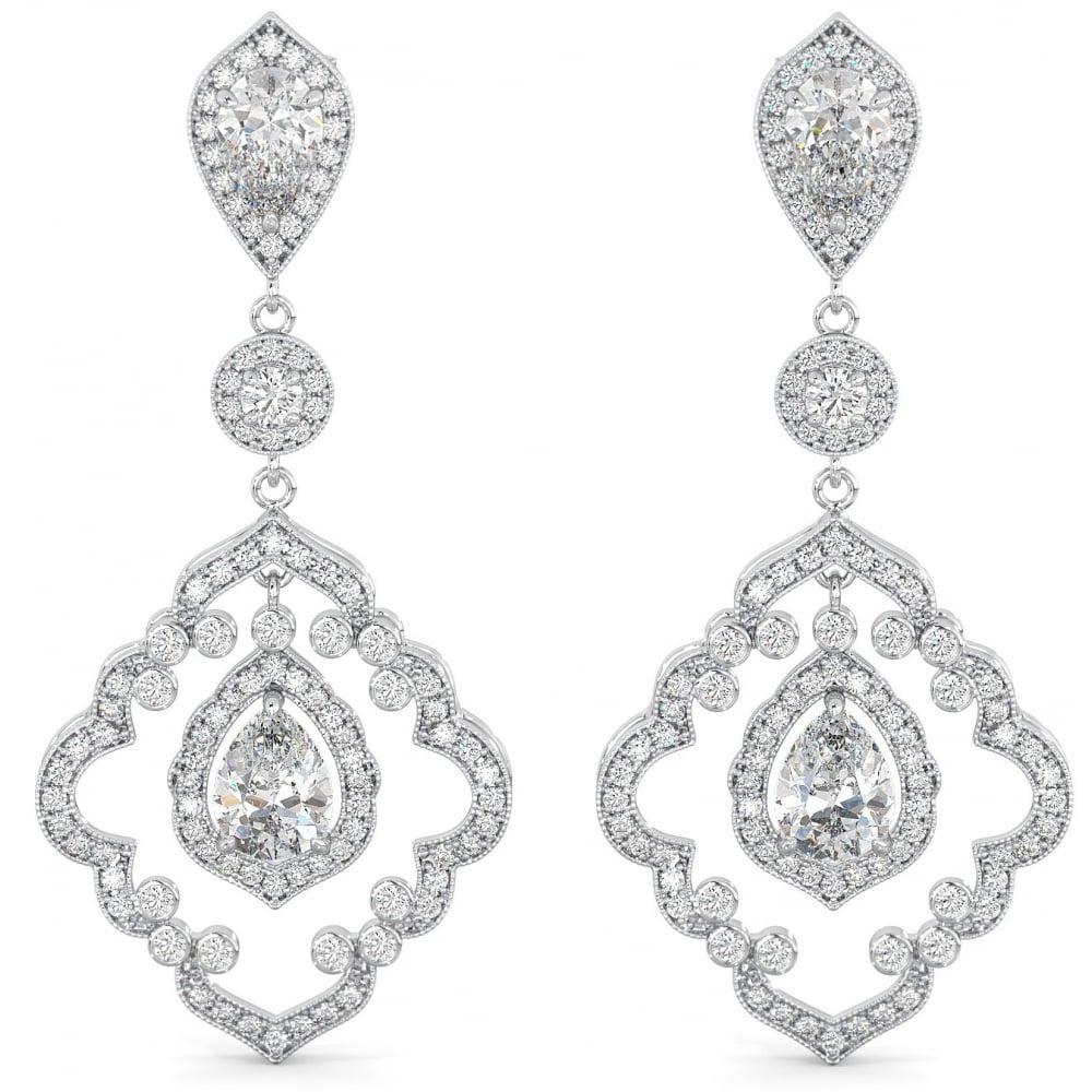 925 sterling silver chandelier drop earrings art deco chandelier cz bridal earrings aloadofball Choice Image