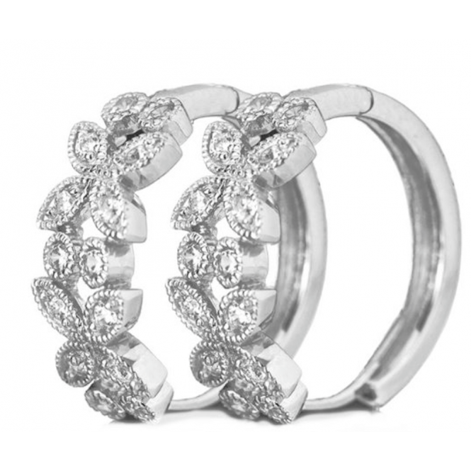Art Deco Unique Sterling Silver Ladies Cubic Zirconia Hinged Hoop Earrings
