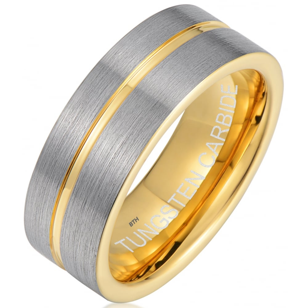 Two Tone Tungsten Carbide Yellow Gold Engagement Ring Wedding Band