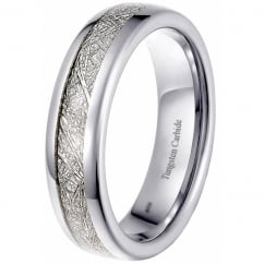 Bespoke Unisex 6mm Tungsten Meteorite Wedding Eternity Ring for Men & Women