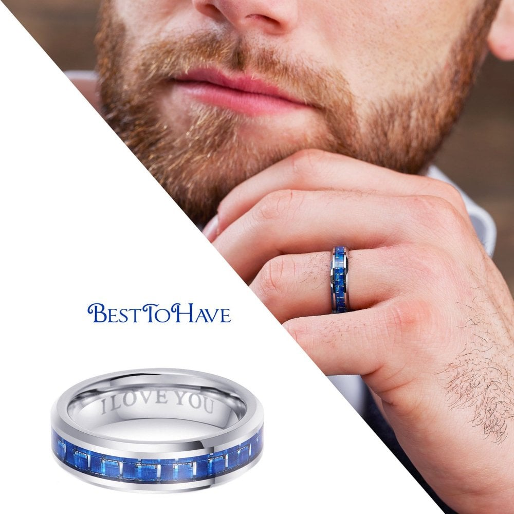 6mm Unisex Tungsten I Love You Blue Carbon Engagement Ring Wedding Band