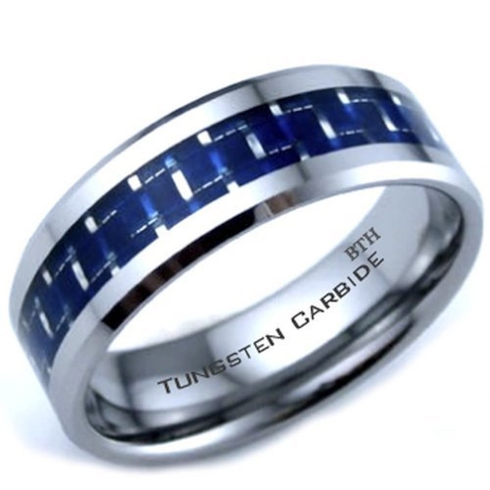 Mens Tungsten Carbide Blue Carbon Inlay Engagement Wedding Band