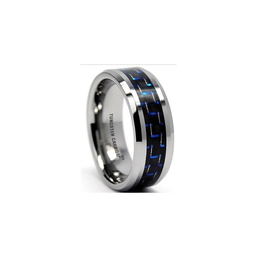blue carbon inlay mens tungsten carbide wedding engagement. Black Bedroom Furniture Sets. Home Design Ideas