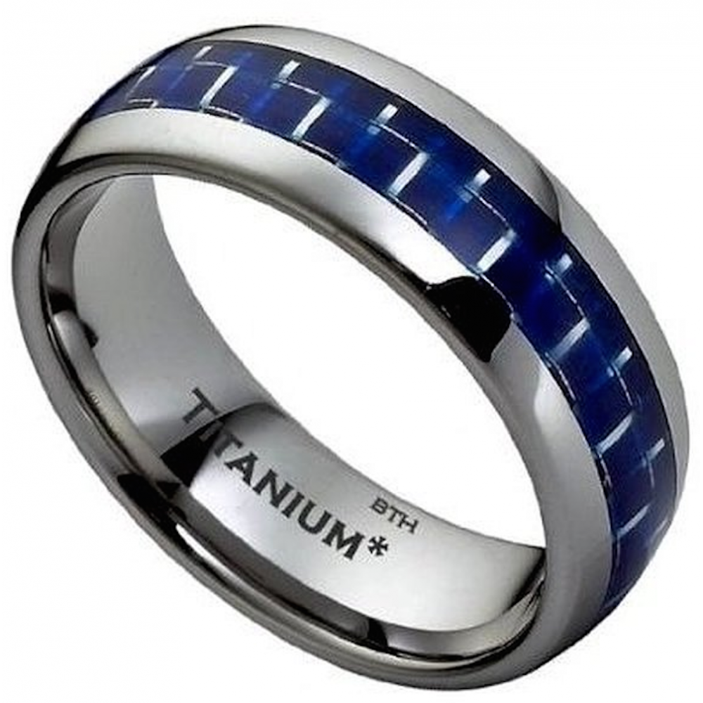 wedding silver band black red men bands mens carbon ring blue grey green fiber titanium itm
