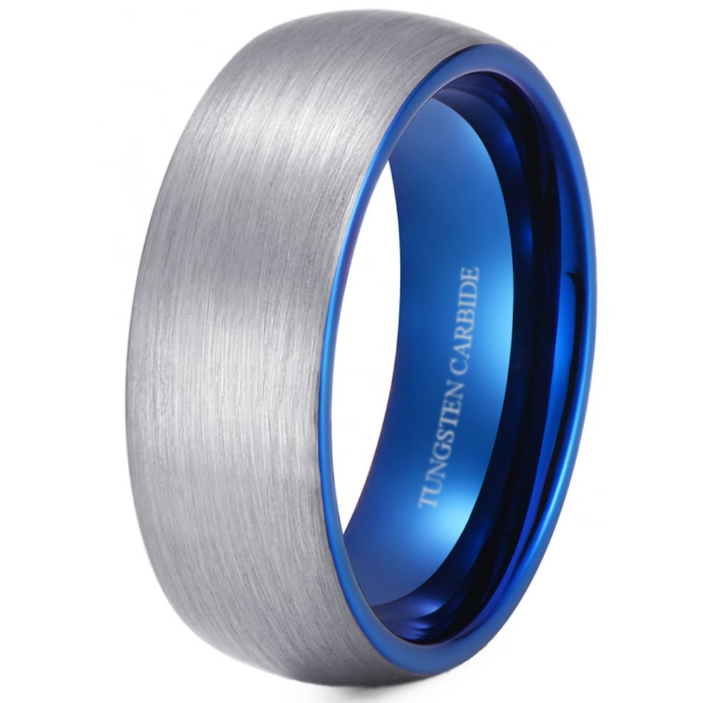Mens Wedding Bands Tungsten.Blue Men S Tungsten Wedding Band With Blue Interior 8mm