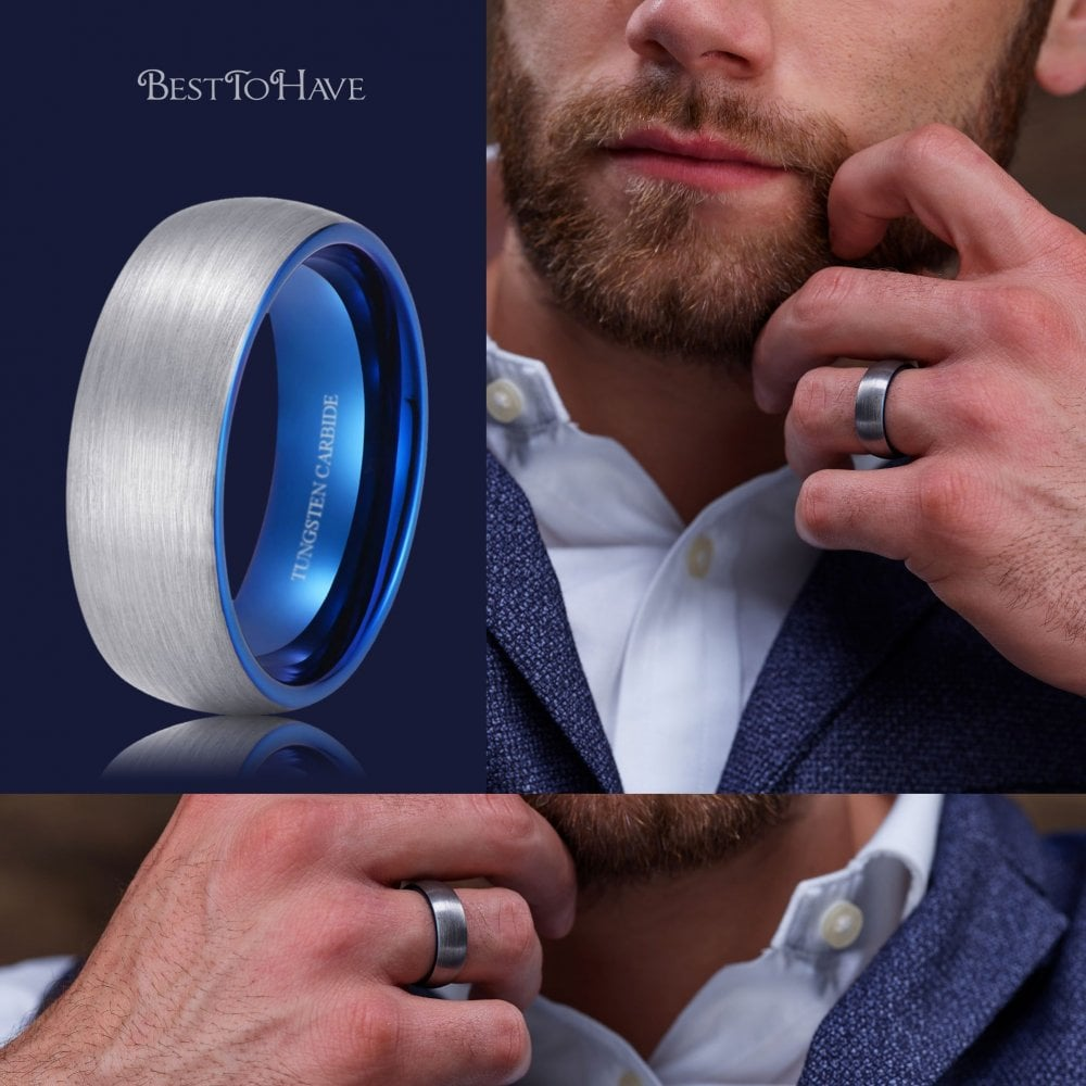 It is a picture of Blue Men's Tungsten Wedding Band with Blue Interior - 30mm