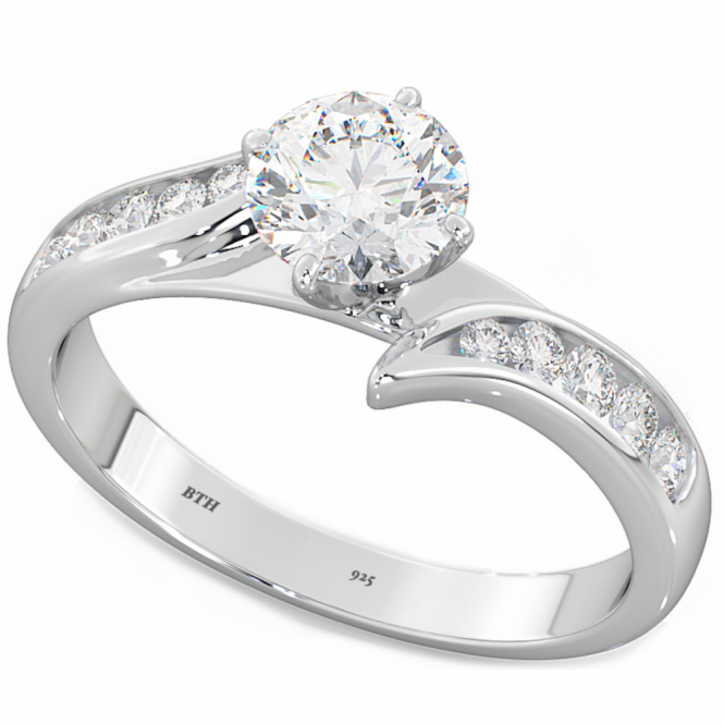Brilliant Cut Simulated Diamonds CZ Ladies Wedding Engagement Ring in 925 Sterling Silver