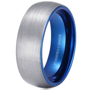 Brushed Tungsten Wedding Engagement Ring With Blue Interior