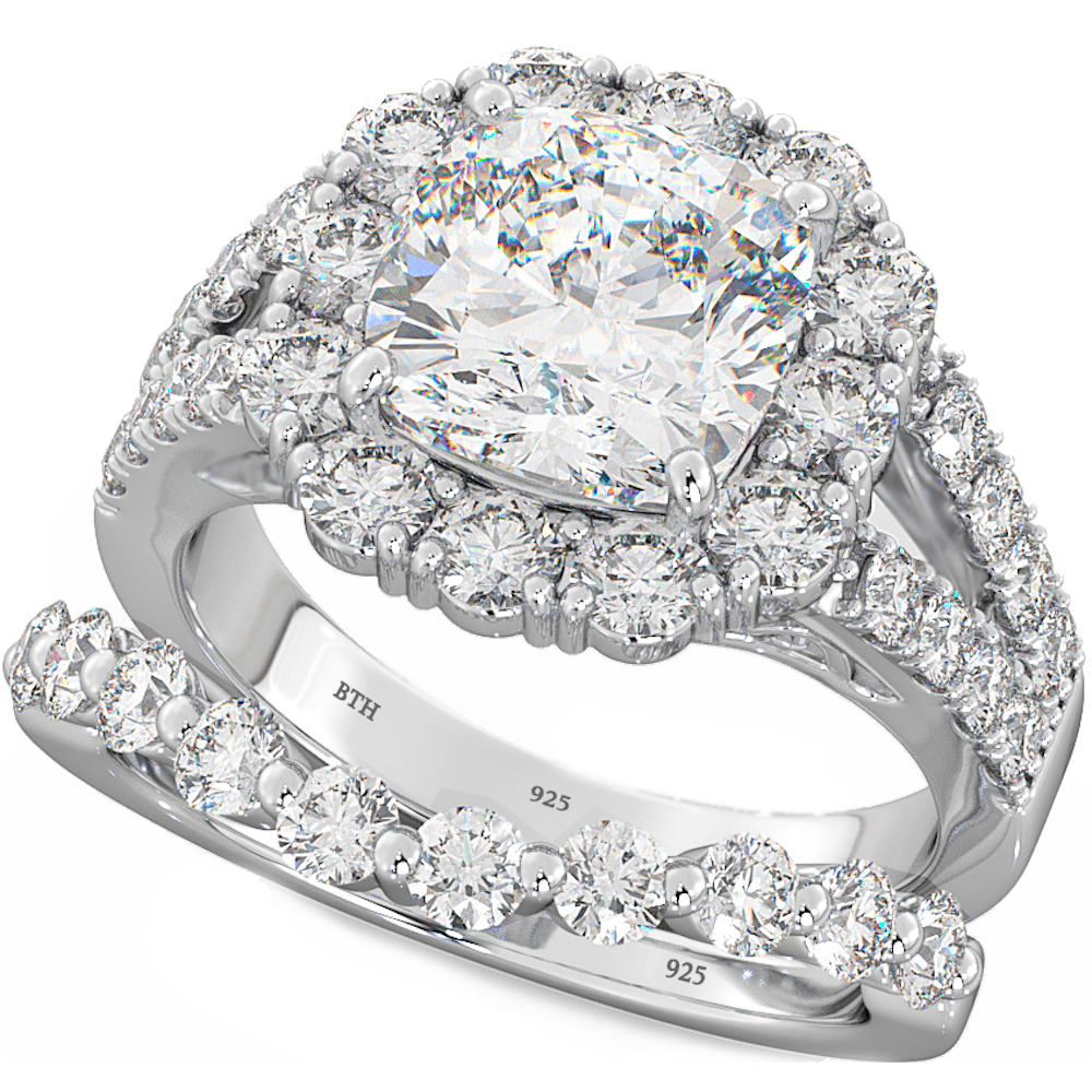 Cushion Cut CZ Halo 925 Silver Wedding Engagement Bridal