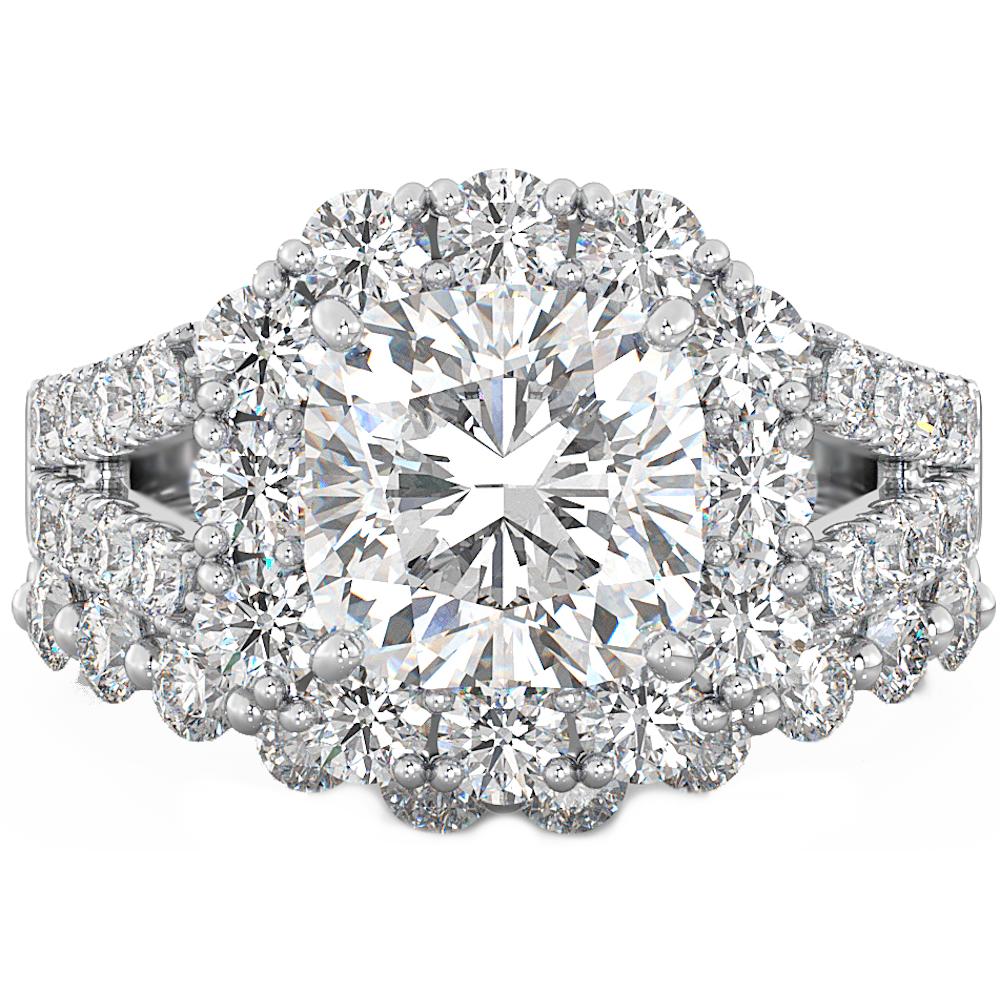 Cushion Cut Cz Halo 925 Silver Wedding Engagement Bridal