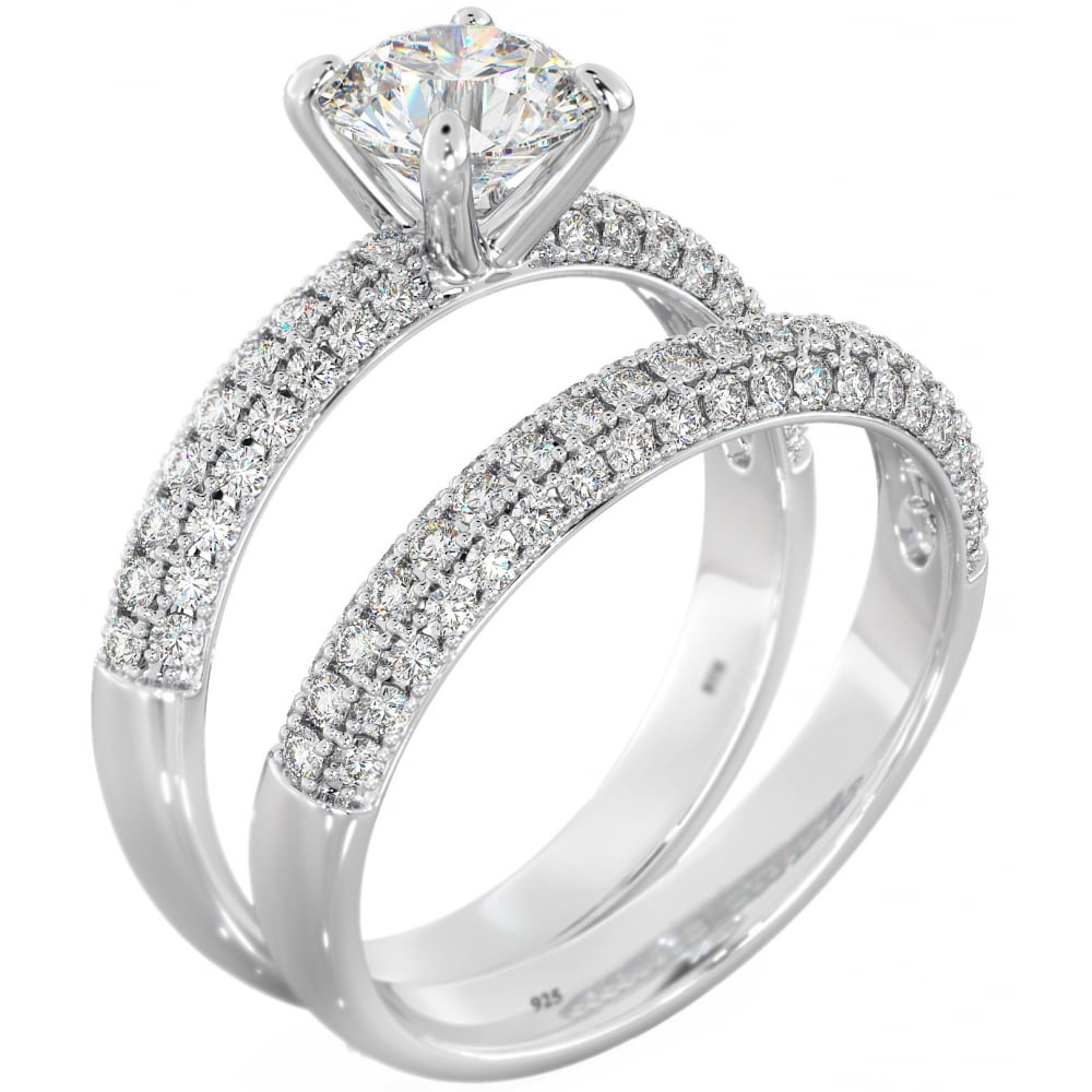 Dazzling Duo Sterling Silver U0026amp; Cubic Zirconia Bridal Ring Set