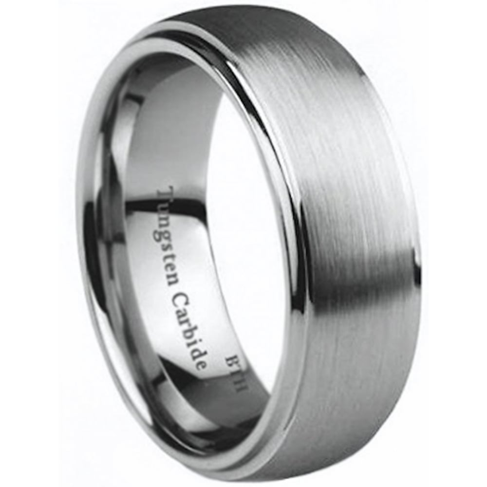 Engraved with I Love You Tungsten Carbide Wedding Engagement Band Ring
