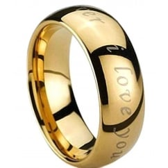 Engraved with I Love You Gold Tungsten Carbide Wedding Engagement Band Ring
