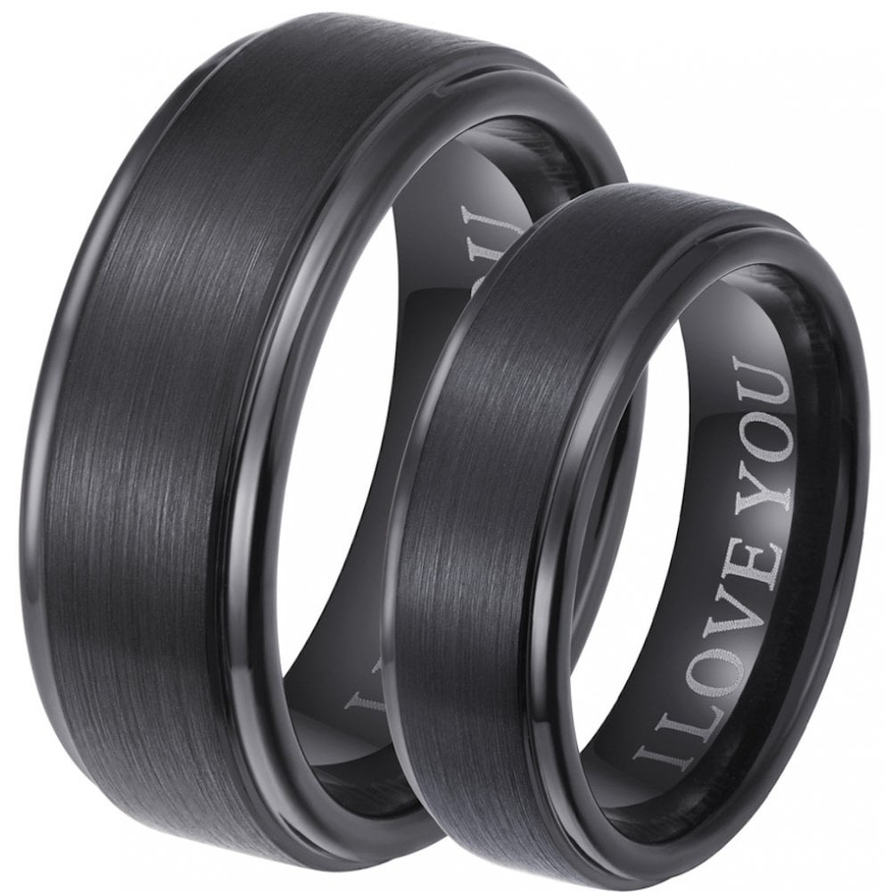 Black Wedding Bands.Engraved With I Love You His And Hers Matching Black Tungsten Wedding Couple Rings Set