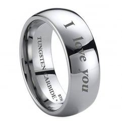 Engraved with I Love You Tungsten Carbide Mens Wedding Engagement Band Ring