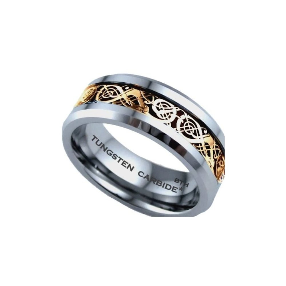 It is a picture of Gold Celtic Dragon Inlay Tungsten Carbide Comfort Fit Wedding Band Ring