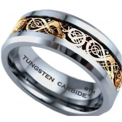 Gold Celtic Dragon Inlay Tungsten Carbide Comfort Fit Wedding Band Ring
