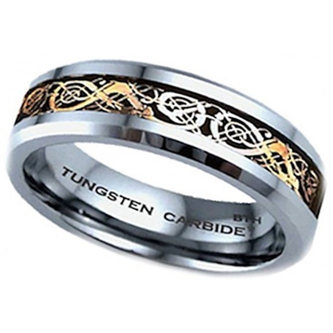 Gold Celtic Dragon Inlay TUNGSTEN Wedding Band Ring- 6mm -Unisex