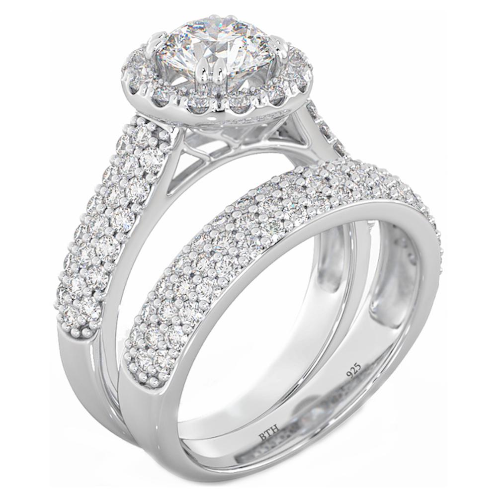 halo 2 piece 925 sterling silver wedding engagement bridal. Black Bedroom Furniture Sets. Home Design Ideas