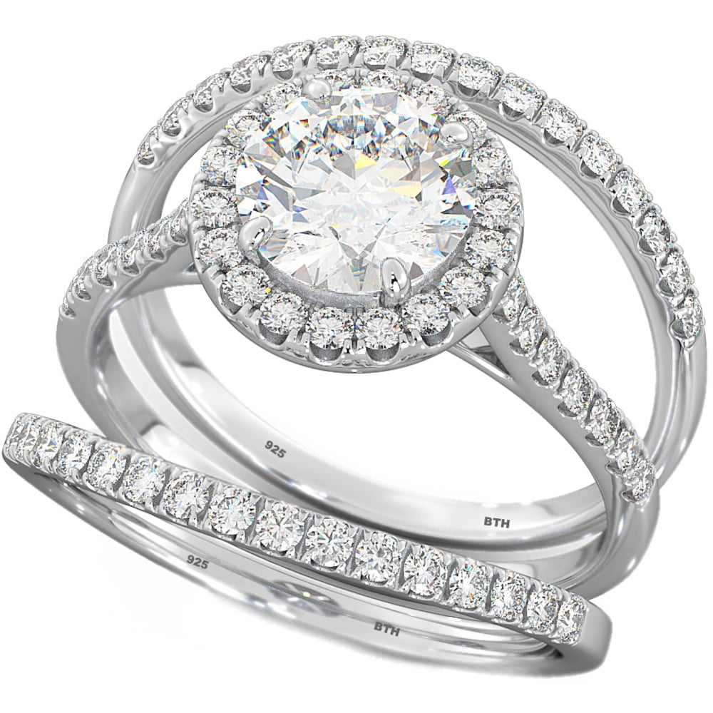 Captivating Halo Design 3 Piece Round Cut CZ Sterling Silver Wedding Engagement Bridal  Ring Set