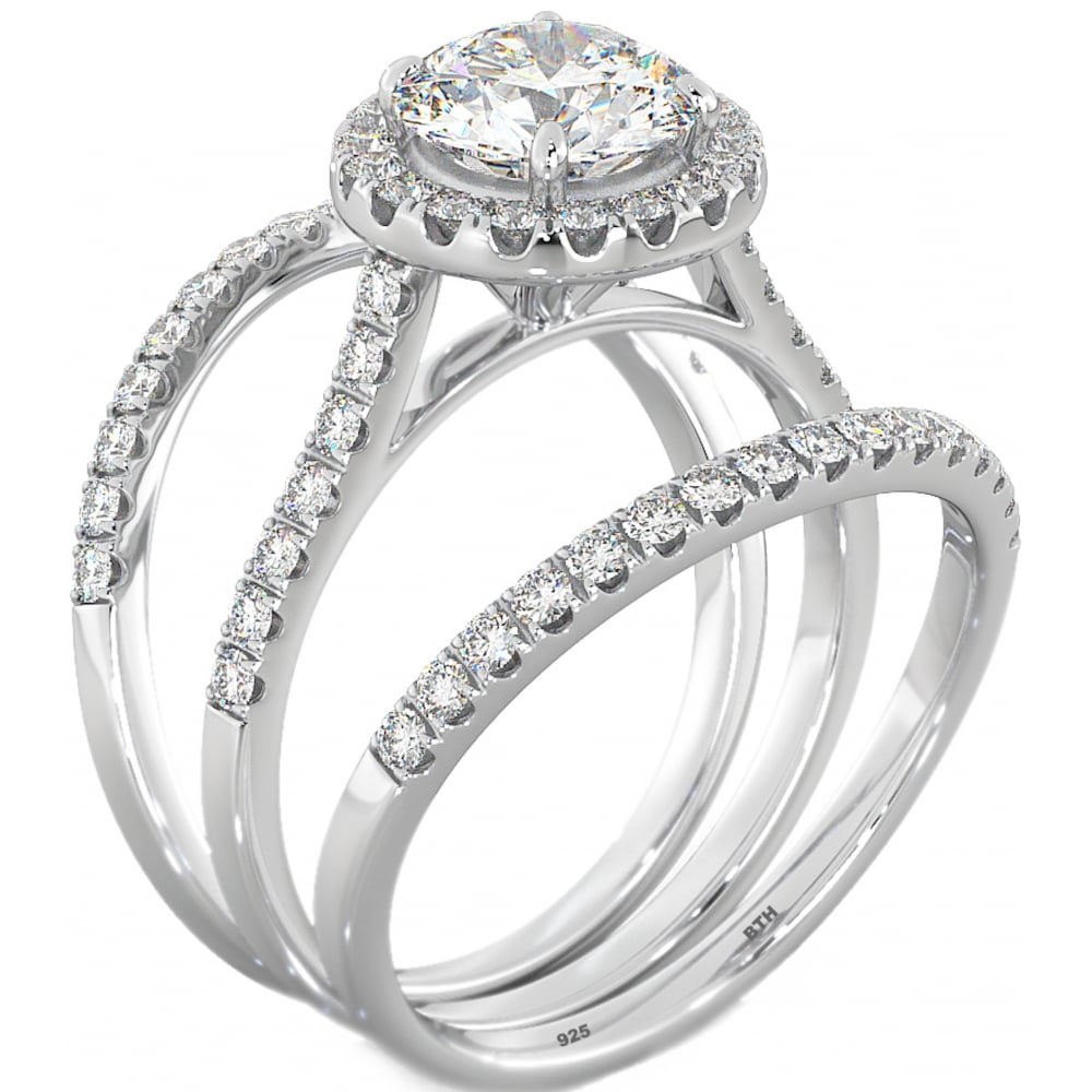 Halo Design 3 Piece Round Cut CZ Sterling Silver Wedding Engagement Bridal  Ring Set