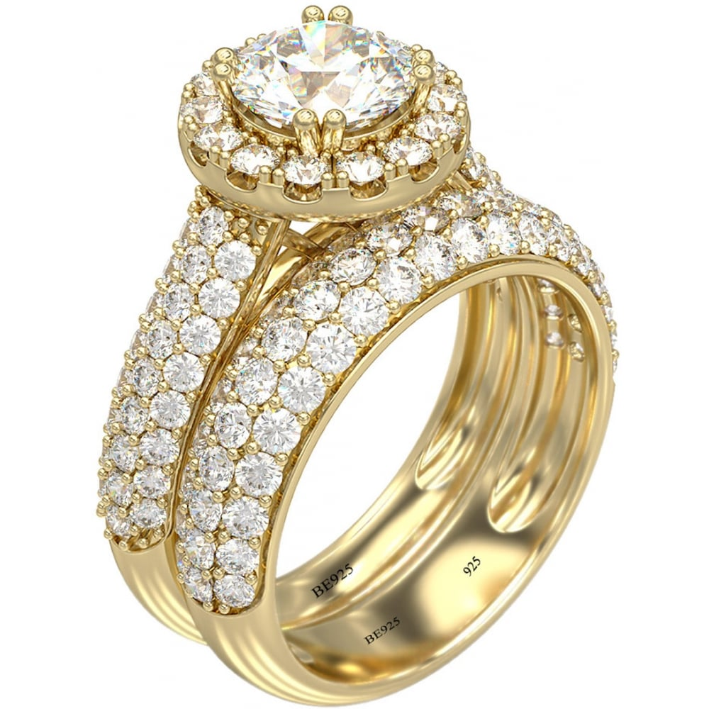 sterling silver wedding ring halo design 925 sterling silver 18k gold tone wedding ring set 7706