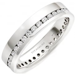 High Quality Polished 7mm Titanium Men's/Unisex Engagement Band With Simulated Diamonds