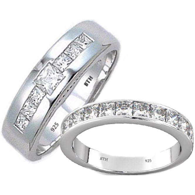 His and Hers Matching 925 Sterling Silver Wedding Engagement Couple Rings Set