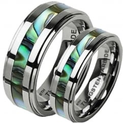 His and Hers Matching Abalone Shell Tungsten Wedding Couple Ring Sets