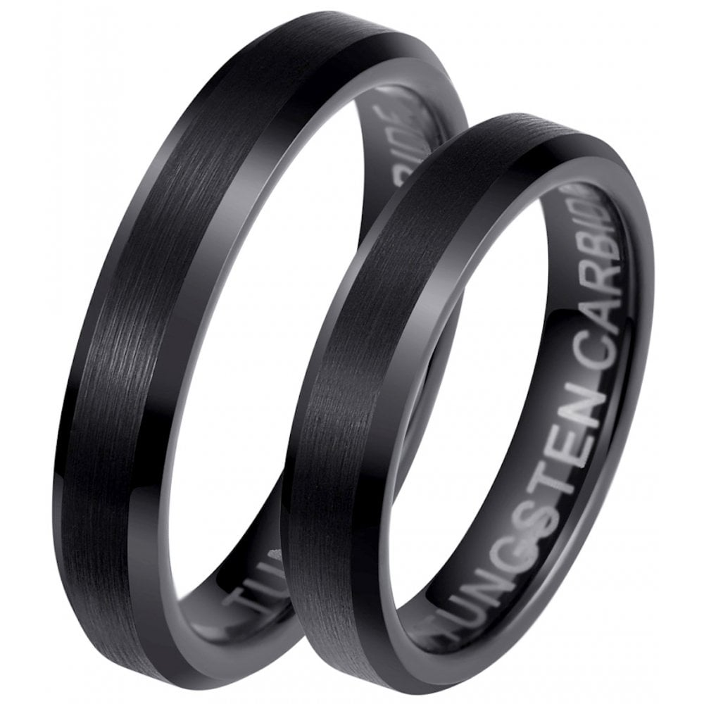 Matching Wedding Rings For Bride And Groom.His And Hers Matching Black Tungsten 4mm Wedding Couple Rings Set