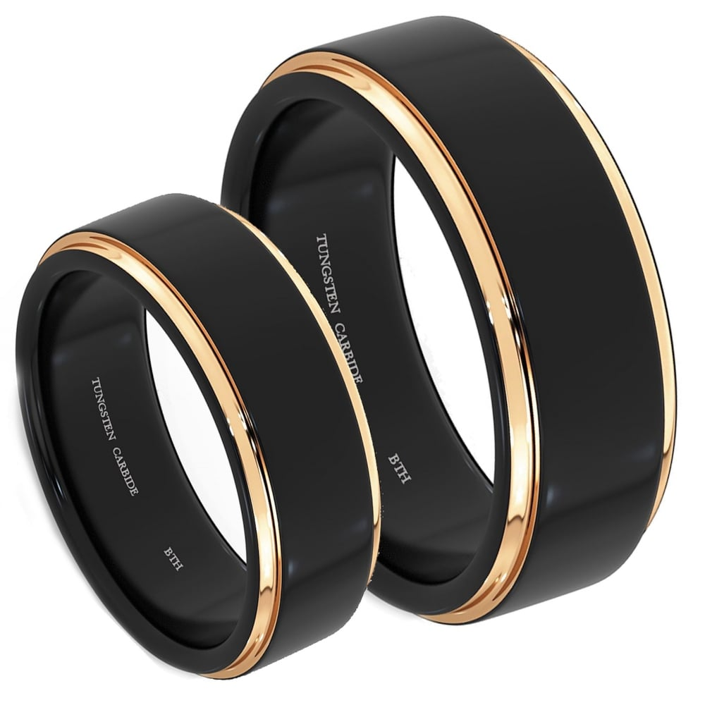 His And Hers Matching Black Tungsten Carbide Rose Gold Engagement Couple Rings  Set