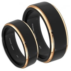 His And Hers Matching Black Tungsten Wedding Couple Rings Set