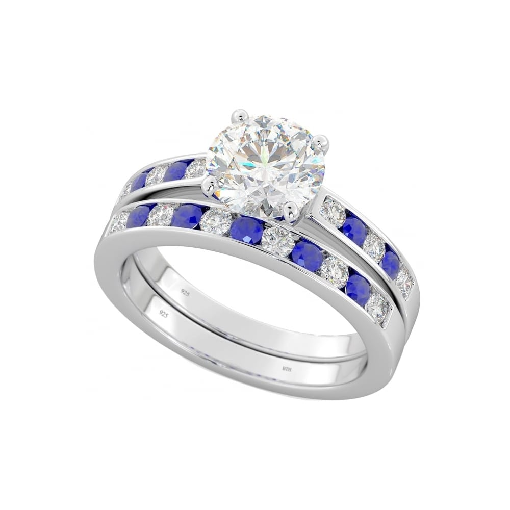 His And Hers Matching Blue Sapphire Wedding Engagement Couple Rings Set