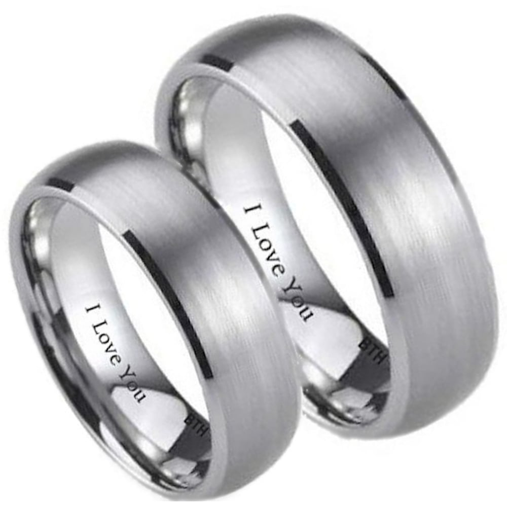 His And Hers Matching Brushed Titanium Band Wedding Engagement Couple Rings  Set