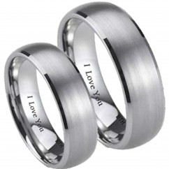 His and Hers Matching Brushed Titanium Wedding Couple Ring Set