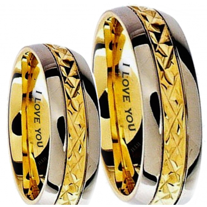 His and Hers Matching Classic Gold Tone Wedding Couple Rings Set - Engraved I Love You