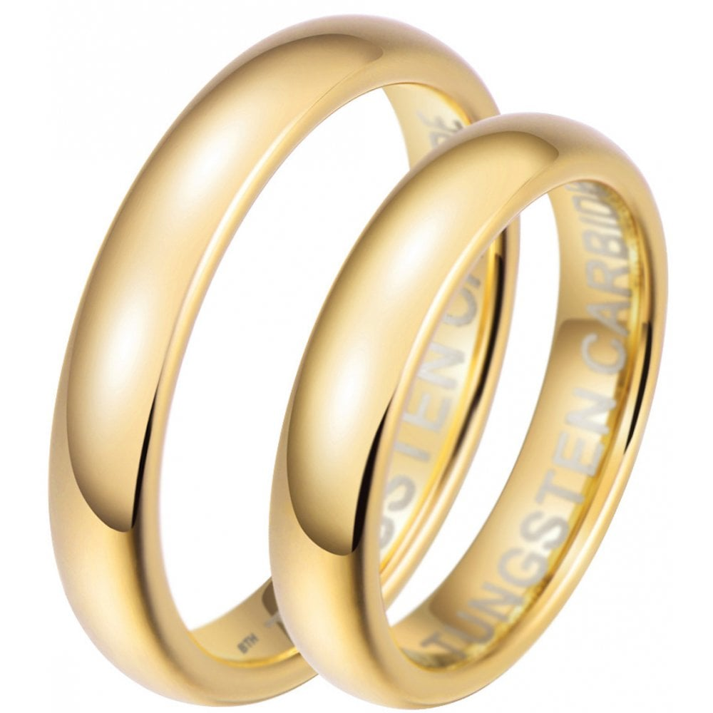 This is a picture of His and Hers Matching Gold Tone 42mm Tungsten Wedding Couple Rings Set