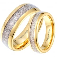 His and Hers Matching Gold Tone Tungsten Wedding Couple Rings Set - Meteorite Inlay