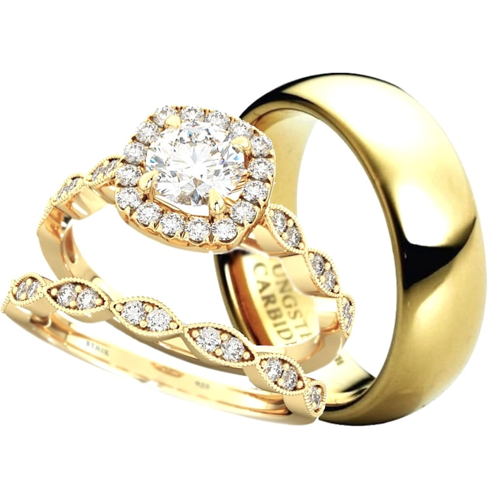 His And Hers Matching Gold Tone Wedding Engagement Couple Rings Set