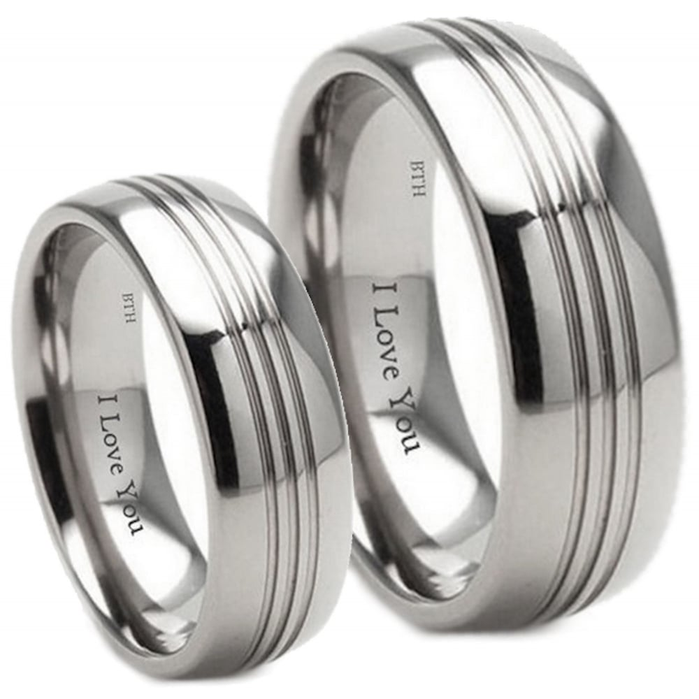 rings groove wedding artfull tri ring expression from titanium shop