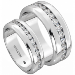 His and Hers Matching Titanium 8mm/6mm Classic CZ Wedding Engagement Couple Rings Set