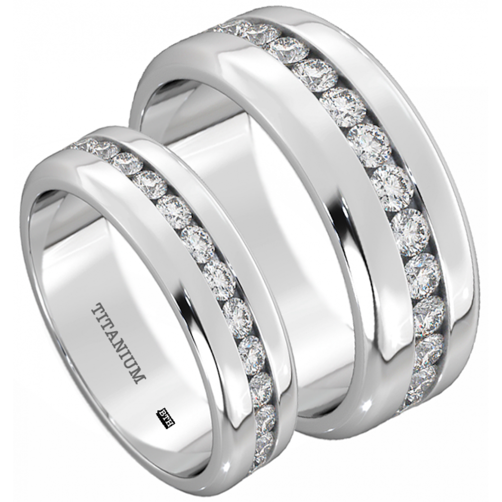 6572db670e3583 His And Hers Titanium Wedding Engagement Ring Band Set