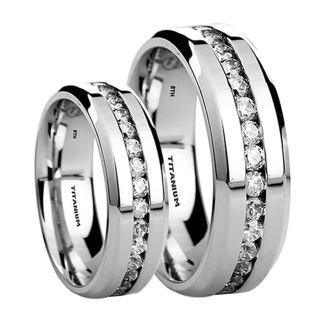 153b735a334d53 His and Hers Matching Titanium 8mm/6mm Wedding Engagement Couple Rings Set